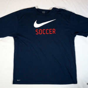 Nike Soccer Fit Dry Logo T-Shirt Big Swoosh Sz L